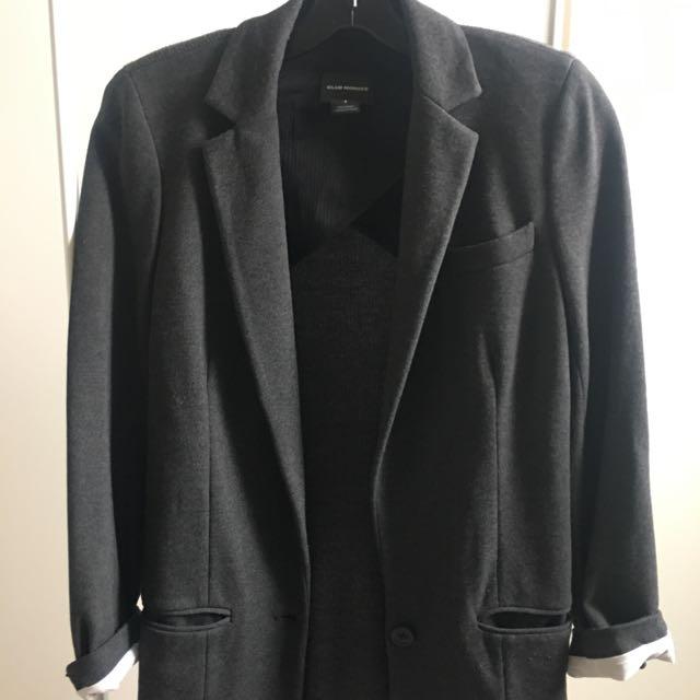 Club Monaco Grey Cotton Blazer Size 4