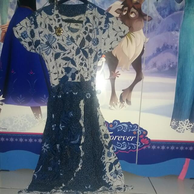 Dress Batik Bunga Biru Uk.M
