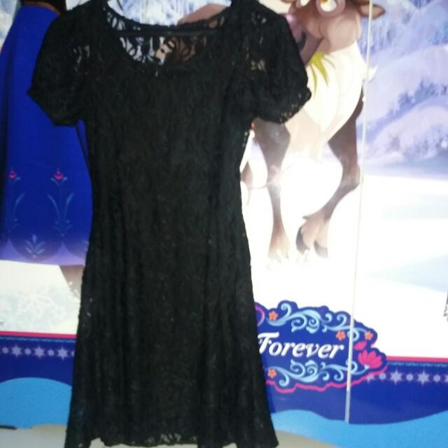 Dress Full Brukat Bunga Hitam Uk Fit M