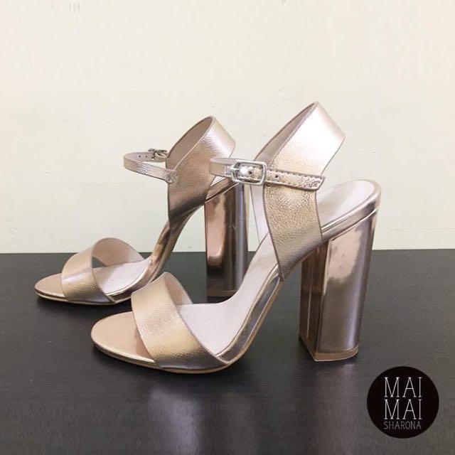 Evernew Rose Gold Block-heeled Sandals