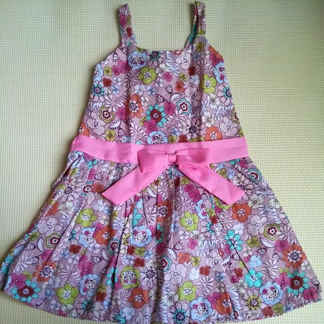 Floral Pink Dress With Ribbon