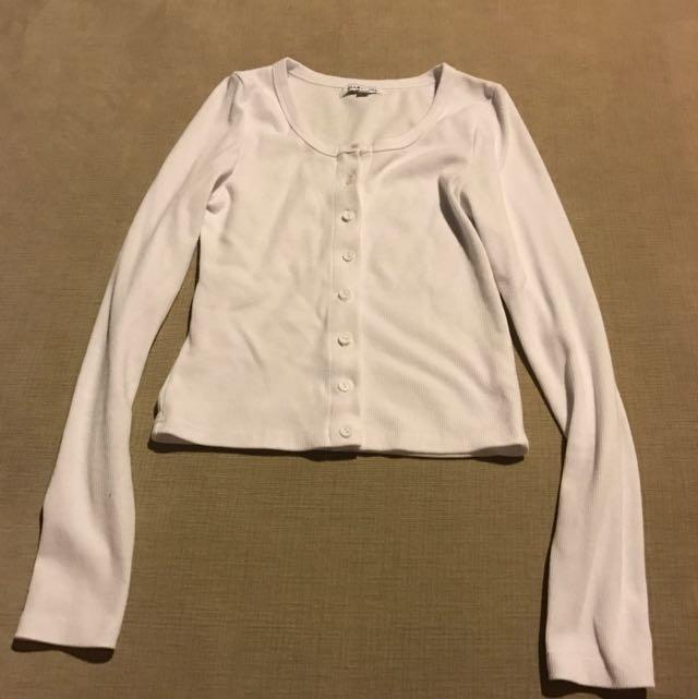 Glamorous White Long Sleeve Top Size M