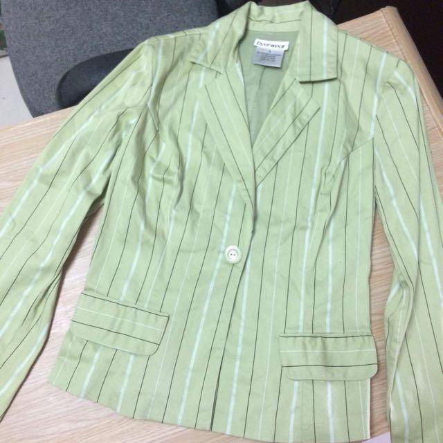 Green Stripe Cotton Blazer