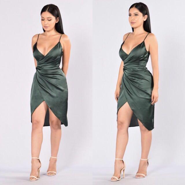 High Slit Dress In Olive