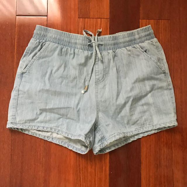 High Waist Drawstring Denim Shorts