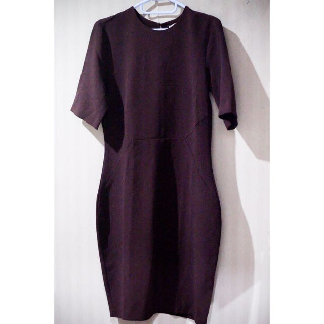 H&M Midi Dress Maroon