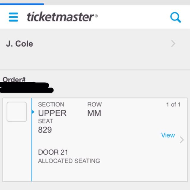 J Cole Ticket