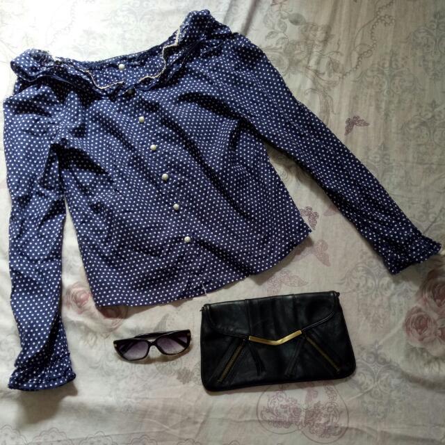 Korean inspired Polka dots blouse
