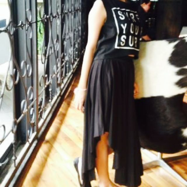 Long Space Skirt & Black Blouse