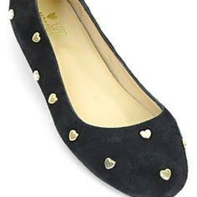 Love Moschino - Black Suede Ballerina Flats With Gold Heart Studs - Size 36 - Worn Once