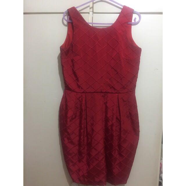 Plains & Prints Red Wine Dress