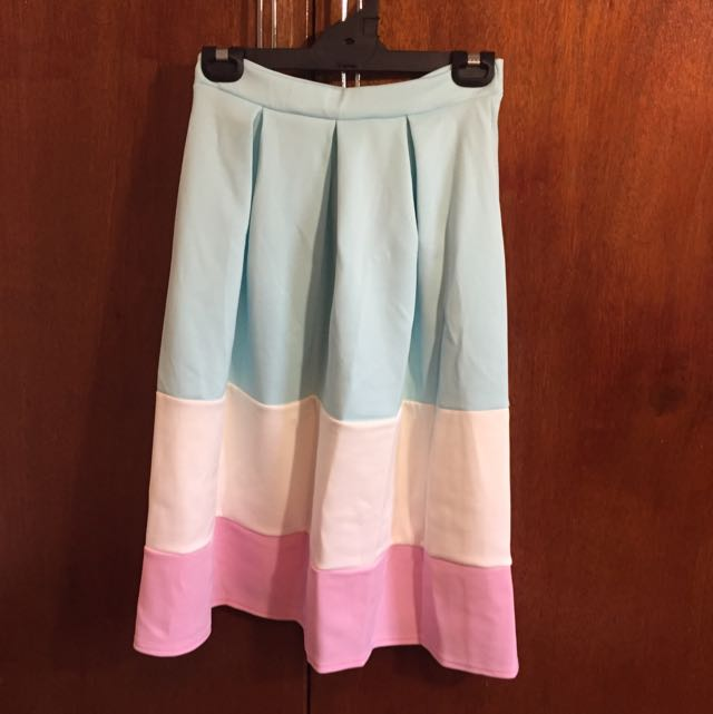 Pleated Pastel High Waisted Skirt