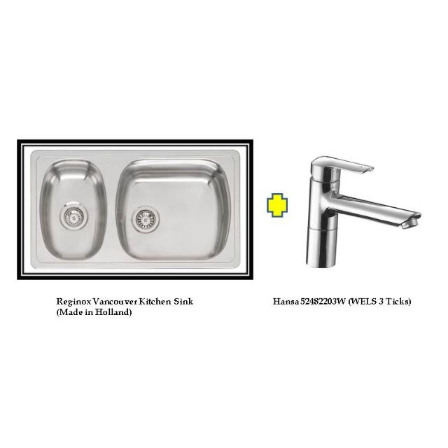 Reginox Vancouver Kitchen Sink + Hansa Vantis Sink Mixer Package ...