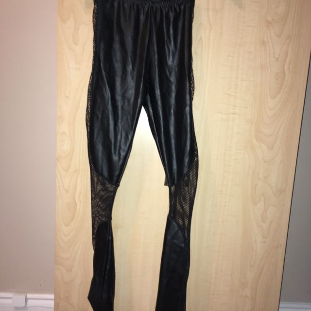 Seduction Pleather And Mesh Pants