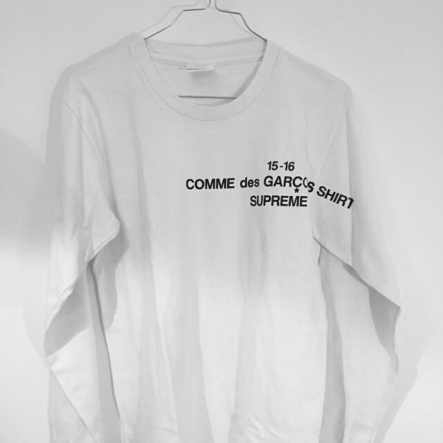 Supreme X Comme Des Garcons White Long Sleeve Shirt Size S bc05f296068d