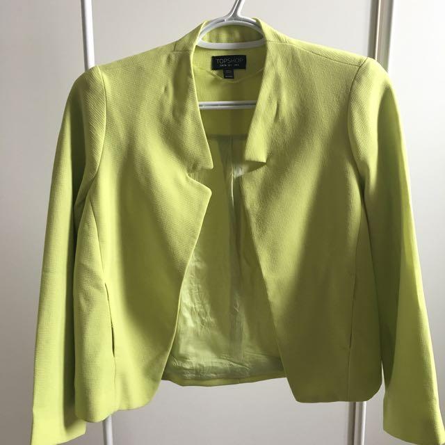 Topshop Neon Green / Yellow Blazer (US 2)