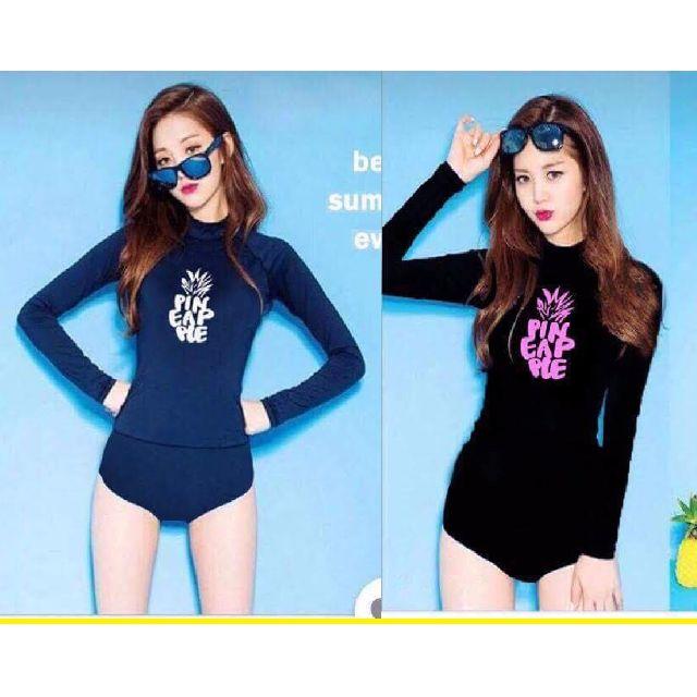 Two 2 Piece Long Sleeves PIN EAP PLE Print Design with Sexy Swim Shorts  Rash Guard Set _RX23