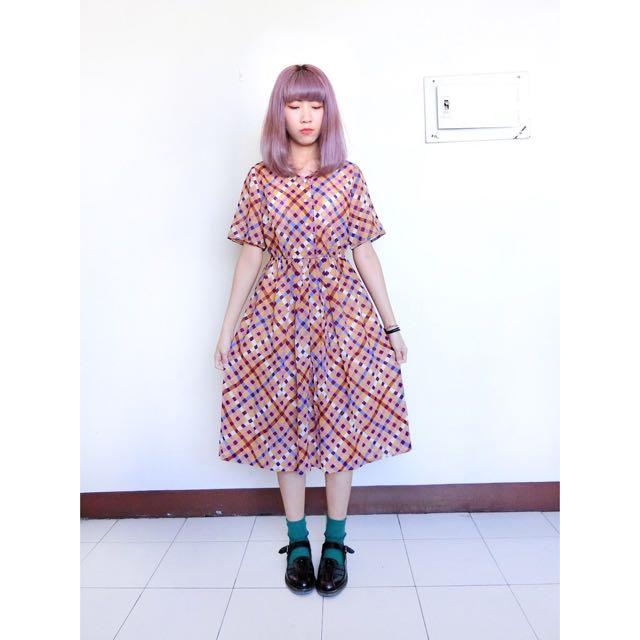 Vintage古著🔹粉紅彩色格紋子收腰洋裝