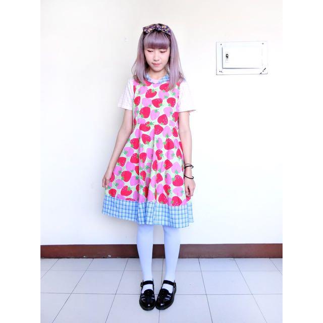 Vintage古著🔹下北澤超可愛草莓格紋水手領無袖洋裝