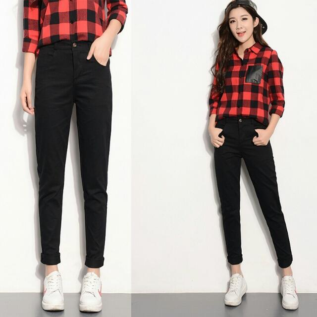 NEW Women Black Straight Pants Casual Work Pants