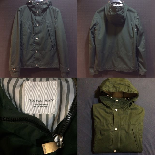 Zara Man Moda Parka Outdoor 草綠 風衣 軍裝 Waterproof S號
