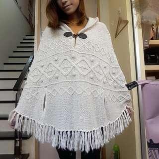 <代售>米白色針織毛線斗篷罩衫