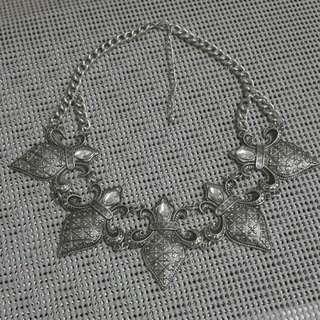 複古銀色水晶片頸鏈