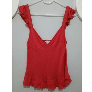 Mango Red Frilly Top size S