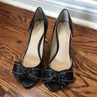 Black Bow Peep Toes By Guess