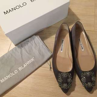 MANOLO BLAHNIK Hangisi Satin flats Grey Size 37