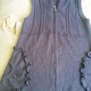 Grey Woolen Vest Cardigan Size L