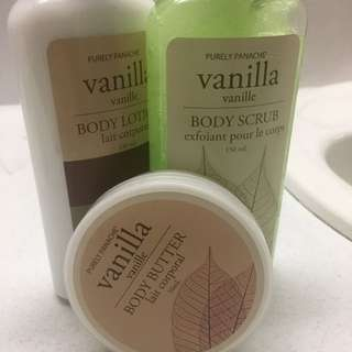 Vanilla Body Scrub, Body Lotion And Body Butter