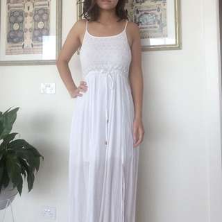 White Maxi Dress With Splits