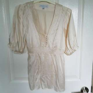 Forever New Size 8 White Silk Top