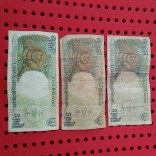 Jual Koleksi-uang Kertas 500 Rupiah Tahun 1992
