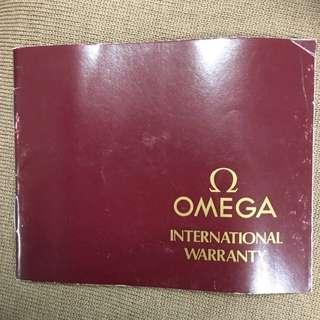 Genuine Vintage Omega Warranty Paper