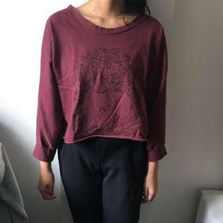 Skull Maroon Sweater 💀/ Preloved