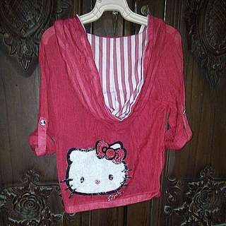 Jacket Hello Kitty Crop Lucu Sekali