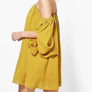 Yellow Cold Shoulder Party Beach Dress