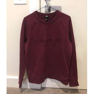 "Burgundy H&M ""Anyhow"" Crewneck *Repost, got flaked, Price Drop*"
