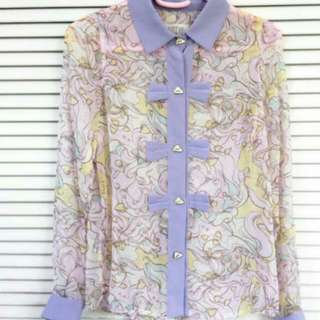 Pastel Blouse With Cute Harajuku Prints