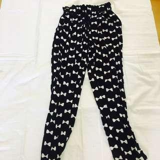 [RARE] Ribbon Pj Harem Print Pajama Slack Pants