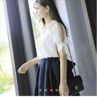 Open Sleeve White Collared Office Wear