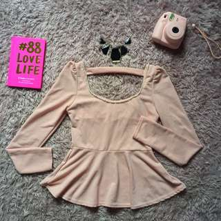 Dusty Pink Long Sleeve Peplum Top