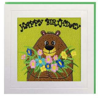 Birthday Bouquet Bear Greeting Card