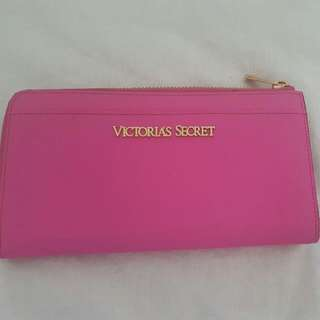 Victoria's Secret Hot Pink Grain Leather And Gold Hardware Wallet