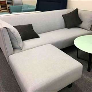Brand New Grey Fabric Couch/Sofa With Ottoman/Chaise