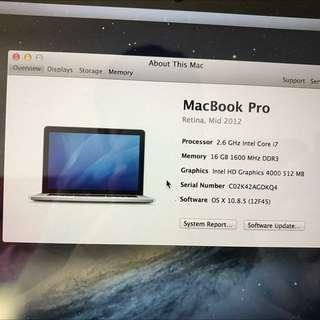 Macbook Pro 15inch Mid 2012 Retina