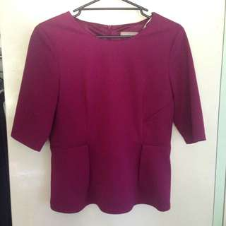Forecast Berry Peplum Top