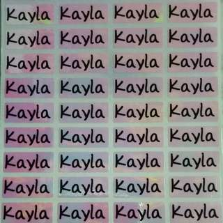 Plain Rainbow Name Stickers Printed